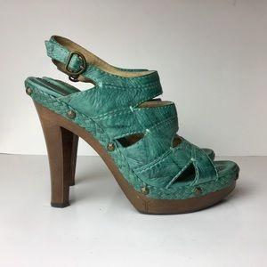 Frye Dara Campus Stitch platform sandal teal S:9